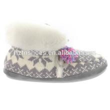 Frauen innen schöne schnee grau Farbe Knöchel Stiefel Winter Dame Spitze Schleife halten warme Indoor Schuhe