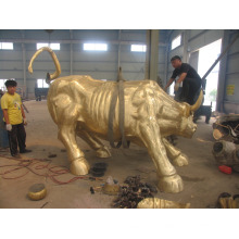 décorations de jardin grandeur nature artisanat en métal moulé bronze taureau sculpture