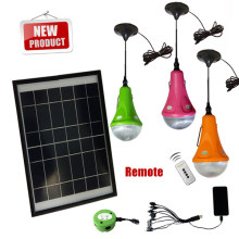 Remote control solar LED home lights with 3 LED bulbs for home emergency lighting