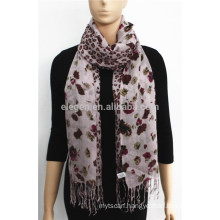 Acrylic Floral and Leopard Patchwork Printed Scarf