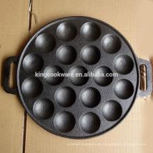 Utensilios para hornear de hierro fundido para hornear sartén redonda pastel pan de 19 hoyos