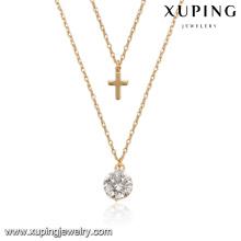 44181 atacado xuping liga de cobre jóias 18 k estilo católico diamante branco banhado a ouro colar de jóias lariat