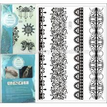 Flash metálico impermeável tatuagem temporária mulheres pretas Henna j012 flor laço bracelete jóias Tattoo Stick