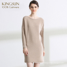 Elegant Bateau Neck 100% Cashmere Women Sweater Dress High Class Sweater for Winter