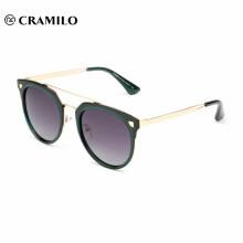 monture métallique à monture ronde à monture ronde pour femmes, lunettes de soleil polarisées