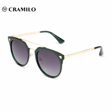 stock fashion metal frame round lens women polarized sunglasses