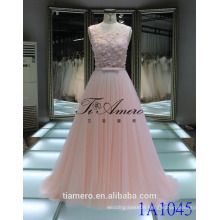 1A1045 Dreamy Light Pink Crocheted Lace Sash 3D Flowers Appliqued Sleeveless Evening Dress Prom Dress Bridesmaid Dress