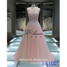 1A1045 мечтательный светло-розовый крючком кружева Sash 3D цветы аппликация рукавов Вечерние платья выпускного вечера платье невесты платье