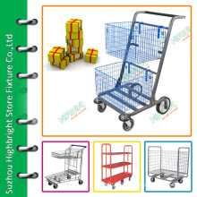 double baskets storage roll cart hand trolley