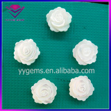 Hand Carved Mother of Pearl Ivory White Rose Flower MOP Shell Pieces for Cufflinks Brooch
