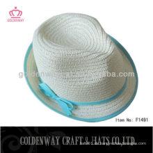 Weißes Papier Stroh Fedora Hut F1491 schön für Frauen mit blauem Band billig für die Förderung