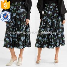 Multicolor Impresso Crepe Midi Saia OEM / ODM Fabricação Atacado Moda Feminina Vestuário (TA7002S)