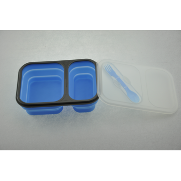 Với nắp đậy silicone Foldable Food Lunch Box