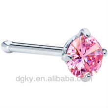 20 Gauge Pink Cubic Zirconia Nose Bone piercing jewelry