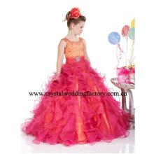 Beaded naranja rojo escalonado vestido de bola por encargo rizado júnior vestidos de desfile de las niñas CWFf4645