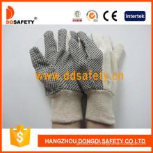 Guantes de polka negro guantes de jardín puntos guante de trabajo de seguridad (dcd301)