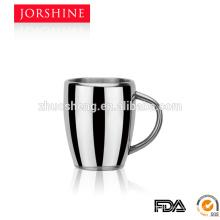 Alta calidad de 260ML y pared doble venta caliente tazas de café con asa de metal