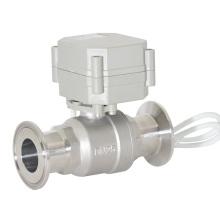 CE Válvula de bola con sujeción sanitaria Válvula de bola sanitaria de flujo eléctrico de 2 vías (T25-S2-AQ)