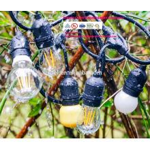 Luzes de corda ao ar livre com 15 luzes (3 extra S14 bulbos) e 13 cabo de extensão de correspondência de pé - comercial à prova de intempé