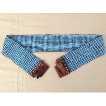 New Handmade Turquoise Blue Ethnic Stretch Glass Beads Beaded Belt With Wood Buckle