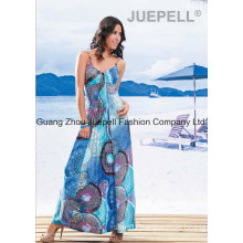 Knit Women Cheap Pleated Medallion Print Cami Maxi Dress OEM