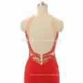 Оптовые высокая шея женщины платье платье с высоким сплит открытой спиной красное одутловатое выпускного платья с тяжелыми бисероплетение и маленький хвост