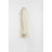 Fausse fourrure blanche chaudement manteau extérieur