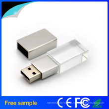 Free Sample 3D gravura logotipo Crystal USB Flash Drive