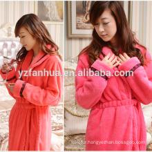 Luxury Flannel fleece Women Bathrobe with Black Lace on Lapel