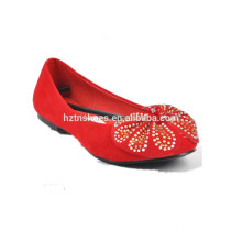 woman casual fashion flat shoes with bow red ballerina shoe flat shoe