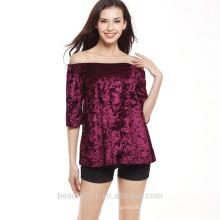Usine hot sales lady tops plissé plus taille rayure noir T-shirt SD15