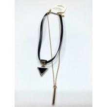 Mode Halskette Chocker mit Dreieck Charme mit schwarzem Emaille