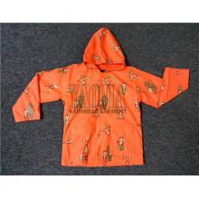 Laranja cor PU revestimento impermeável Rain Jacket para crianças