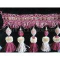Frange et garniture de rideau en polyester vintage fait à la main