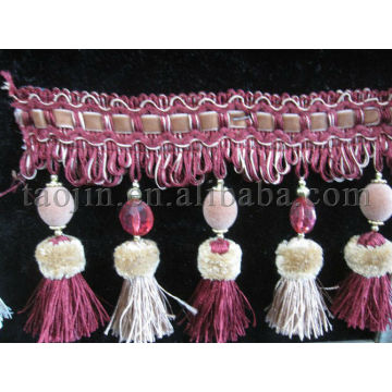 Borda e cortina de cortina de poliéster vintage artesanal