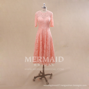 Wholesale short sleeve lace peach color patterns bridesmaid dress