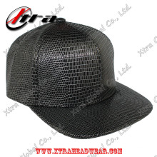 Black & White Lizard Leather Baseball Cap Allover Pattern