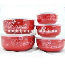 5 piezas de un juego de tazón redondo de esmalte rojo redondo de porcelana