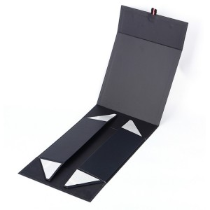 Black magnetic folding paper box with custom logo