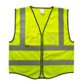Yellow safety vest with PVC card pocket zipper closure