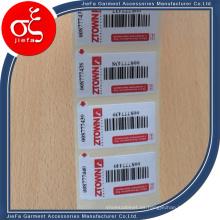 Venta al por mayor Diferente etiqueta engomada de la especificación para la ropa