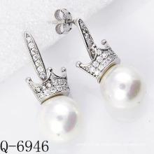 Neueste Styles Perlen Ohrringe 925 Silber (Q-6946)