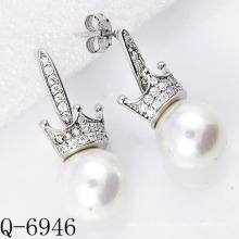Latest Styles Pearl Earrings 925 Silver (Q-6946)