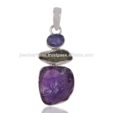 Factory Direct Sale Tanzanite Moldavite and Rough Amethyst Gemstone 925 Silver Pendant