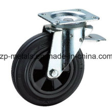 6 Inch Plastic Trash Can Rubber Caster Wheel with Brake