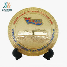 Free Sample Enamel Manufacturer Gold Souvenir Plate From China