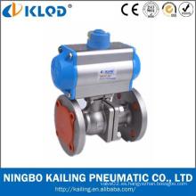 China Manufactory Marca de fábrica de KLQD Tamaño grande Tipo de la brida Válvula neumática de la bola de 4 pulgadas