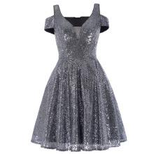 Kate Kasin ahuecado manga corta con cuello en V corto azul marino Sequined vestido de baile de promoción 7 tamaños KK001033-1