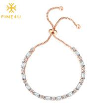 2021 Hot Selling Adjustable Cubic Zirconia Rose Gold Plated Women Tennis Bracelet
