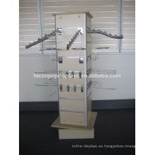 4-Way giratorio de madera Slatwall desmontables ganchos Freestand Sportswear Artículos deportivos exhibición de bastidores
